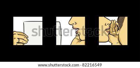 woman close up vector drawing illustration, hot news concept  - stock vector