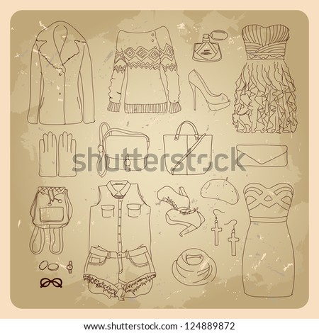 woman clothes sketches fashion clothes and accessories - stock vector