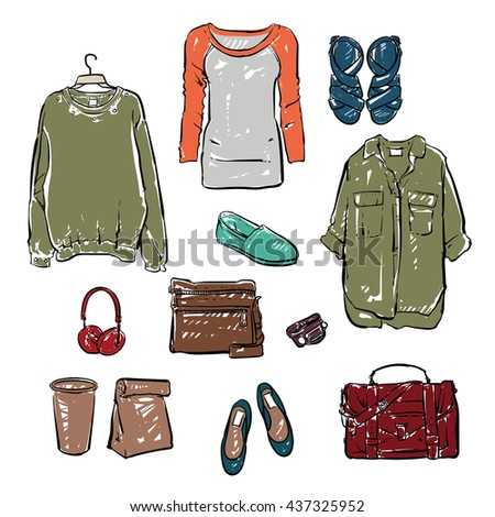 Woman clothing and Accessories. Hand drawn vector.