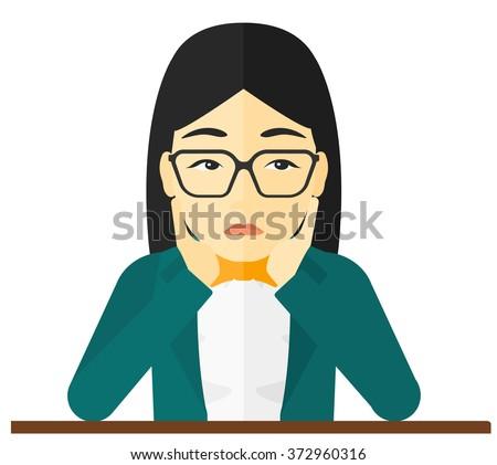 Woman clutching her head in desperate. - stock vector