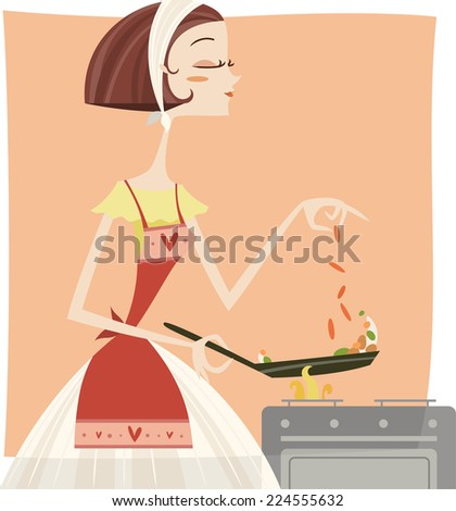 Woman cook with a frying pan - stock vector