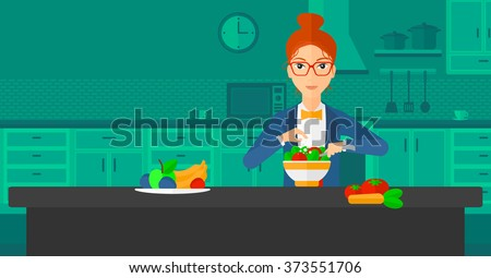 Woman cooking meal. - stock vector