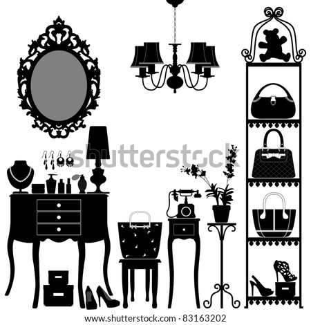 Woman Cosmetic Accessories Room Furniture - stock vector