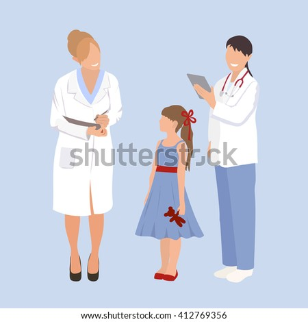 Woman doctor pediatrician and nurse examines a child. Ask little girl about health issues. Flat style vector illustration isolated on white background. - stock vector
