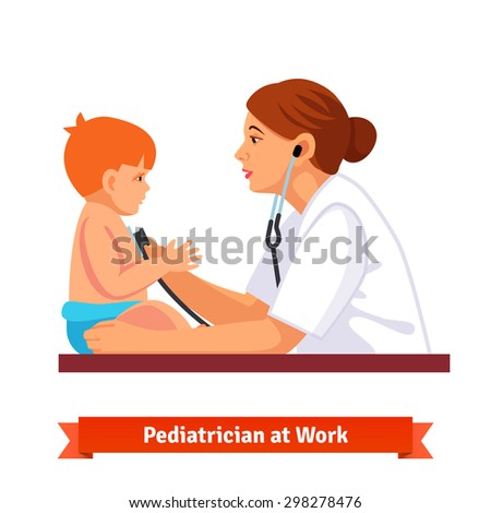 Woman doctor pediatrician examines a child. Listens to his chest with stethoscope. Flat style vector illustration isolated on white background. - stock vector