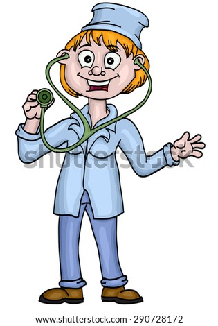 Woman doctor with a stethoscope - stock vector