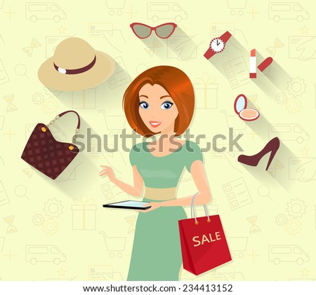 Woman doing online shopping using tablet pc - stock vector