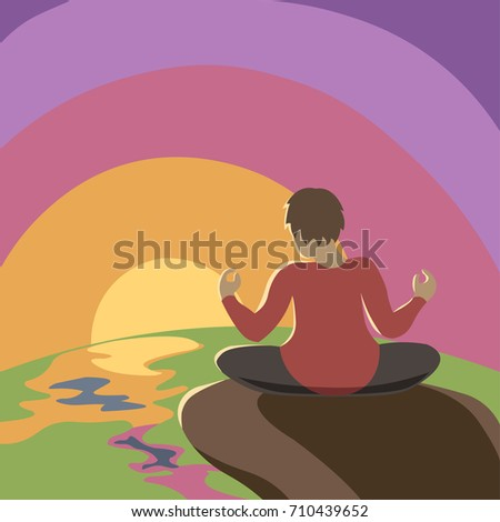 Woman doing yoga at the sea and mountains at sunset. Spiritual, balance, meditation, peace, good air and freedom concept illustration vector.