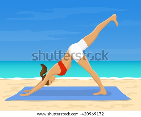 Woman doing Yoga Exercise at the beach Vector Illustration. Yoga Downward Facing Dog Leg Up Pose. Yoga Work Out Outdoor - stock vector