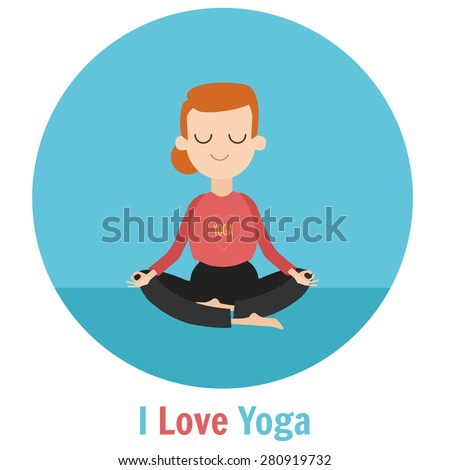 Woman doing yoga. Lotus meditation pose. I love yoga concept - stock vector