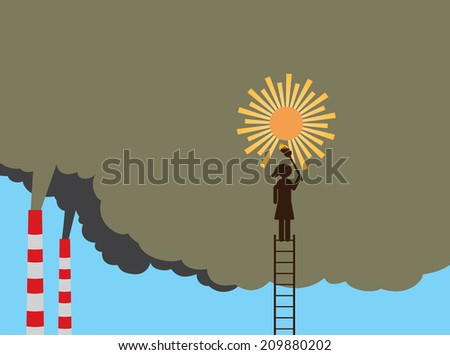 Woman drawing sun on polluted sky - stock vector