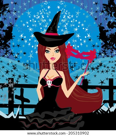 woman dressed as a witch - stock vector