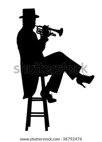 Woman dressed in a tuxedo and top hat, seated on a stool playing a trumpet