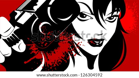woman dressed in black with a gun in his hand (vector illustration); - stock vector