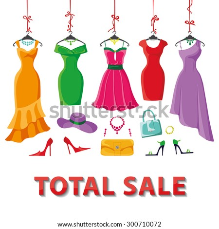 Woman dresses on a hanger and accessories set.Summer Fashion party. Short and long elegant bright color design lady dress ,handbags,hat,shoes collection.Vector art image illustration.Sale background - stock vector