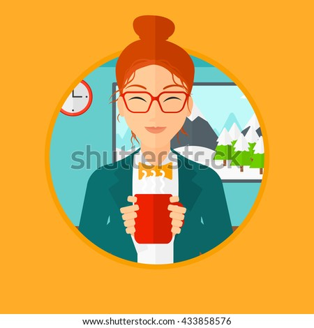 Woman drinking hot flavored coffee. Young smiling woman with cup of delicious coffee. Woman enjoying fresh coffee at home. Vector flat design illustration in the circle isolated on background. - stock vector