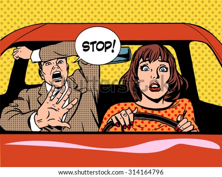 woman driver driving school panic calm retro style pop art. Car and transport - stock vector