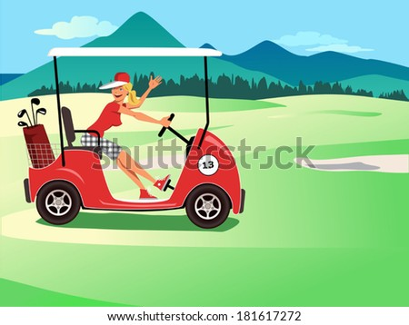Woman driving a golf cart, smiling and waving, beautiful golf course landscape on the background  - stock vector