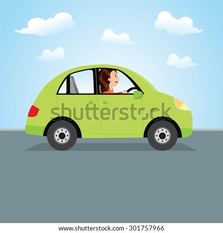 Woman driving green car. Happy young woman driving a car. - stock vector