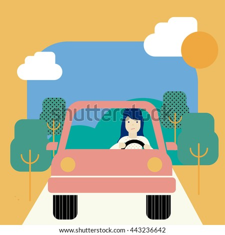 Woman driving her car. Vector illustration of a young woman driving a car. - stock vector