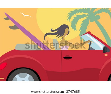 Woman driving to the beach