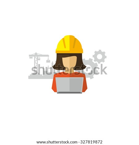 Woman Engineer Architect Using Laptop Vector icon