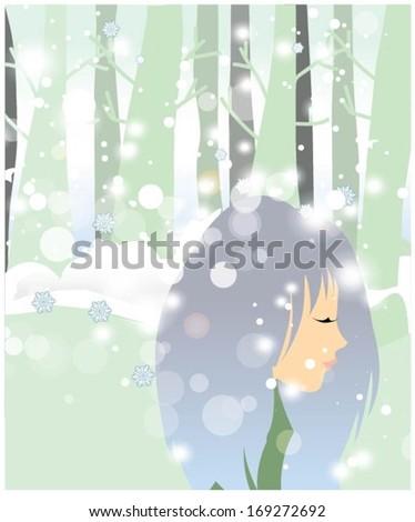 Woman enjoying in winter - stock vector