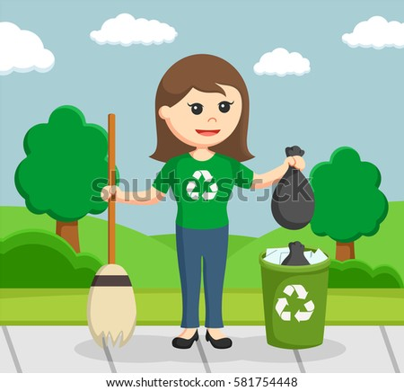 clean environment pictures  Woman Environmental Activist Cleaning Park Stock Vector HD (Royalty ...