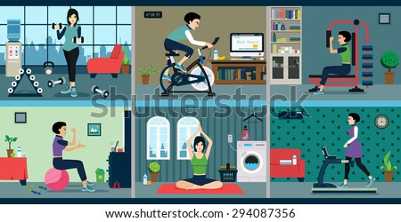 Woman exercise with exercise machines at home. - stock vector