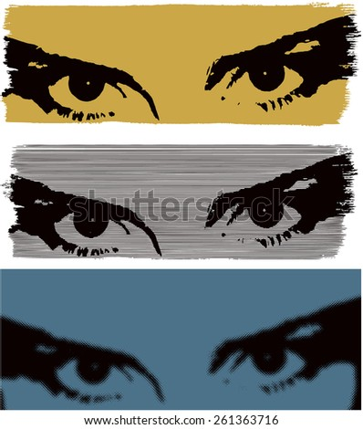 woman eyes an intense gaze. vector art. - stock vector