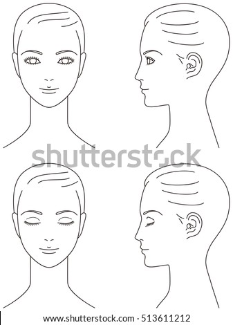 Woman Face Front Profile Stock Vector 2018 513611212 Shutterstock