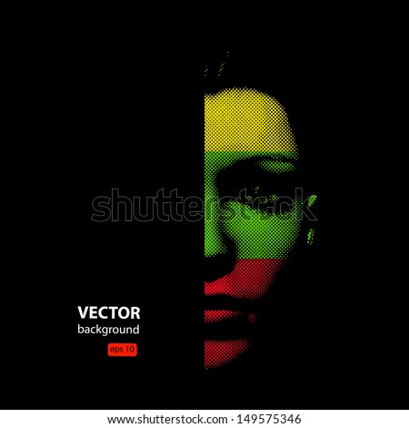 woman face illustration, halftone - stock vector