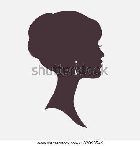 Woman Face Silhouette with Stylish Hairstyle - stock vector