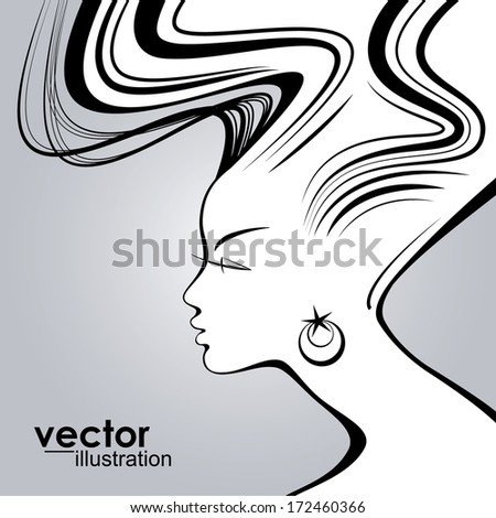 Woman face silhouette with wavy hair - stock vector