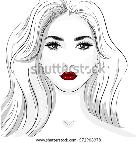 Woman Face Vector Illustration In White Red Black For Beauty Industry And