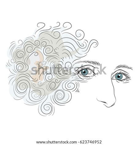 Woman Face With Blue Eyes And Curly Hair Small Baby Boy Sleeping Vector Illustration