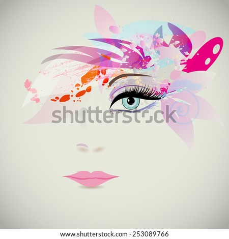 Woman face with design elements, fashion concept. Vector illustration - stock vector
