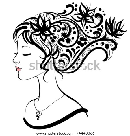 Woman face  with floral hairstyle - stock vector