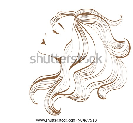 Woman face with long hair - stock vector