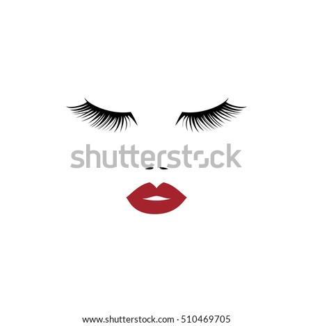 woman face red lips beauty logo stock vector 510469705