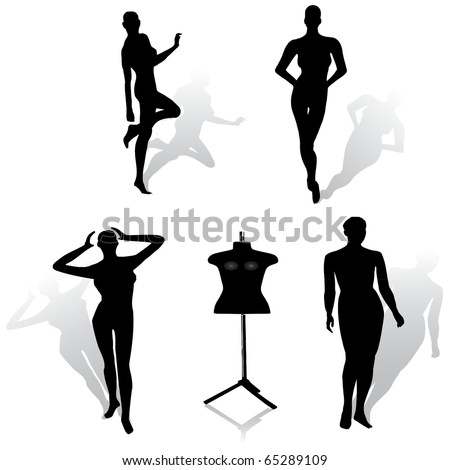 woman fashion mannequin set.Vector - stock vector