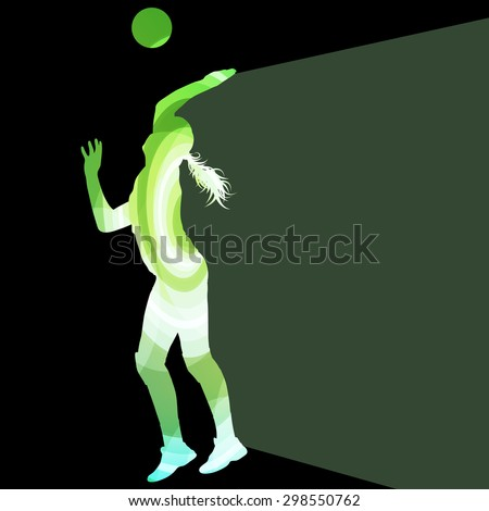 Woman female volleyball player silhouette vector background colorful concept made of transparent curved shapes - stock vector