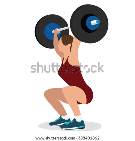 woman female weight lifting training lift bar strength workout vector illustration strong body - stock vector