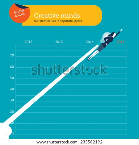 Woman flying with a bulb over year 2015. Vector illustration Eps10 file. Global colors. Text and Texture in separate layers. - stock vector