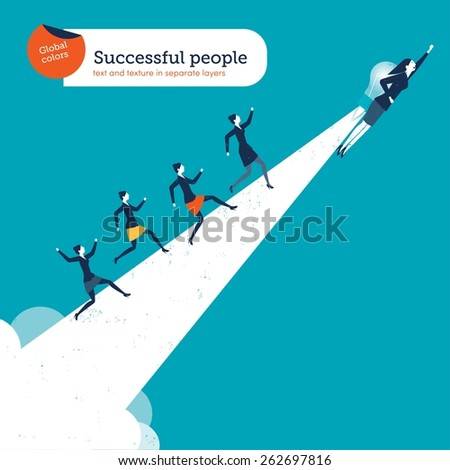 Woman flying with a bulb rocket creating a path with businesswomen running on it - stock vector