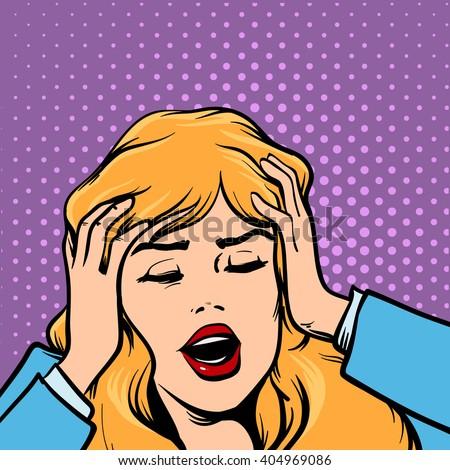 woman get headache, healthcare and migraine, cartoon character, pop art, retro style, vector illustration - stock vector
