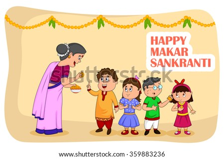 Woman giving sweet to kids for Makar Sankranti in vector