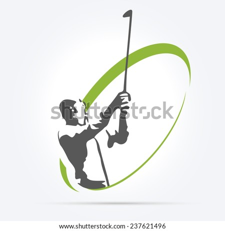 Woman golf silhouette, illustration on white background - stock vector