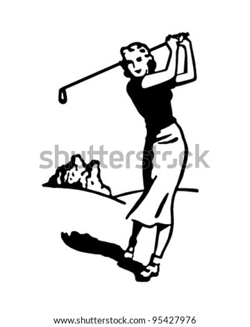 Woman Golfer 4 - Retro Clipart Illustration - stock vector