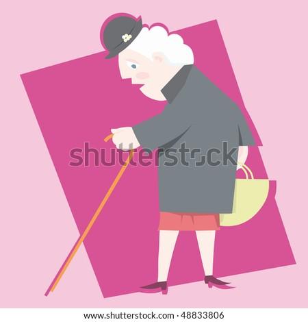 woman grandmather illustration vector cartoon - stock vector